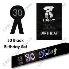 Black '30 Today' sash, 30th Birthday Rosette, 30th Gift Bag NEW
