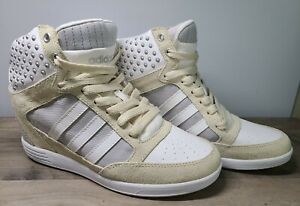 Adidas NEO Label size 7 Womens Wedge Hightop Sneakers Beige White Heels Studded