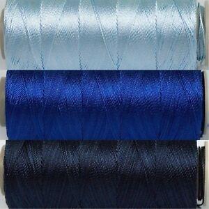 Blues Thread Set - 3 Spools Size 12 - 25gr 328yd ea Poly Embroidery CrossStitch