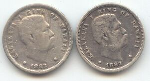 1883 Kingdom of Hawaii Dime, Lot of 2, Both VG-Fine, True Auction, No Reserve