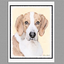 6 American Foxhound Dog Blank Art Note Greeting Cards