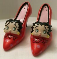 Betty Boop Red Polka Dot High Heeled Shoes Ceramic Salt and Pepper Shakers - 3-D