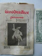 1897 Original ANTIQUE Chicago OPERA HOUSE Programme, Hamlin, Lake Michigan, GIFT