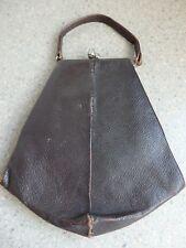Art Deco Dark Brown Ladies Leather Handbag with Acorn Clasps