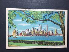 Lower Manhattan's skyline, New York City Linen Post Card 51