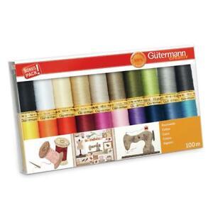 Gutermann Cotton Thread Set - 20x 100m Reels Mix Colours - Patchwork Quilting