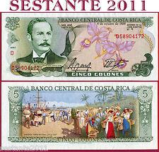 COSTA RICA   -    5 COLONES 4.10. 1989    -   P 236d  -    FDS / UNC