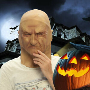 Halloween Male Full Head Mask Party Fancy Dress Up People Face Realistic Cosplay