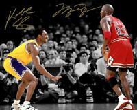 Kobe Bryant Michael Jordan Bulls Lakers W/ Autograph Reprint 8x10 Photo Iconic
