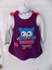 Bonnie Baby Fleece Jumper Dress Set Owl Purple/White Ruffle Size 18 Months EUC