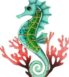 Seahorse Metal Wall Art Hanging Home Decor Sea Life Sculpture Iron & Glass Decor