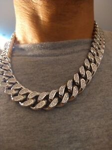 """Miami Cuban Link BIG Iced Out Chain 18mm  22""""L 18k Chain 316L Stainless Steel"""