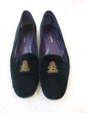 c26106aa43e89 Ralph Lauren Collection Crest Logo Embroidery Green Velvet Flats Size 9