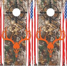 Deer Skull Hunting with Flag Cornhole Board Skin Wrap Decal -LAMINATED