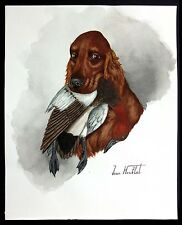 "Jean Herblet French Artist 17""x13""  Original Watercolor Irish Setter, Canvasback"