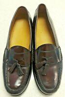 Cole Haan 03507 Men's 13 D Cordovan Burgundy Leather Pinch Tassel Dress Loafers