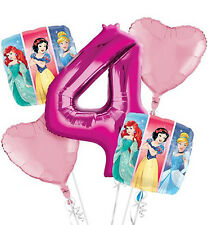 DISNEY PRINCESS 4th Birthday BALLOON Bouquet - Age 4 -  5 Foil Helium Balloons