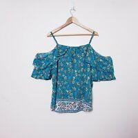 You + All Womens Plus Size 24 Blue Floral Cold Shoulder Flutter Top Shirt