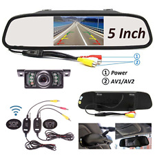 "5"" Car TFT LCD Monitor Mirror + Wireless Reverse Car Rear View Backup Camera Kit"