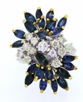 14k white gold 3.48ct diamond and blue sapphire cluster cocktail ring size 6.5