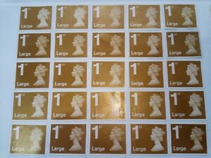 GB Royal Mail unfranked 1st class Large letter Gold security stamps sheet of 25.