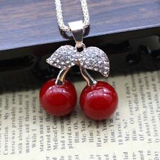 Fashion Women Golden Crystal Red cherry Pendant Long Chain Sweater Necklace Gift