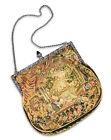 Antique 1920s Austrian silver enamel marcasite Petit Point Tapestry Purse .935 s