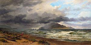 Nicholas Chevalier - Cook Strait, New Zealand, Kapiti Coast 1884, Canvas Print