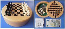 Scacchi portatili con scacchiera in legno cm 8x8 diametro cm 12 interno velluto