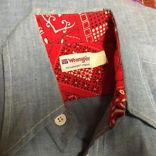 Vintage Wrangler Chambray Paisley Denim 60s 70s Button Collar Work Shirt Mod M