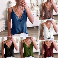 Women Lace Vest Tops Deep V-neck Sexy Casual Vest Slim Fit Sleeveless Summer