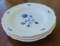 """3 Ikea ARV IDYLL Blue White Floral Rimmed Soup Bowls Salad Plates - 10.25"""""""