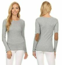 Women's Casual Thermal w/ Faux Suede Elbow Patch Long Sleeve Knit Top sz MEDIUM