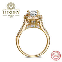 5A Cubic Zirconia Solid 925 Sterling Silver Wedding Engagement Ring for Women