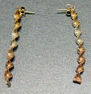 Sterling Silver 925 Spiral Drop Chandelier Twisted 3 Tone Woman's Earrings