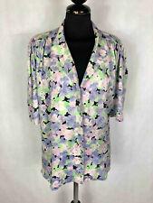 Vintage '70 Women's Shirt Silk Flowered Woman Sz.L - 46