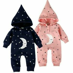 Cute Baby Twins Winter Clothes Star Moon Hooded Romper Warm Long Sleeve Jumpsuit