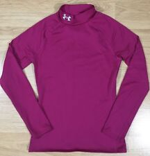 Under Armour Shirt Youth Medium Fitted Cold Gear Pink Long Sleeve