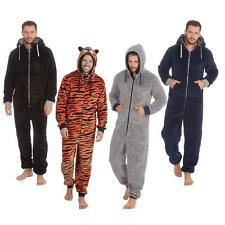 Mens Boys Plain Cuffed Zip Hooded 1Onesie All in 1 Fleece Pyjama Loungewear