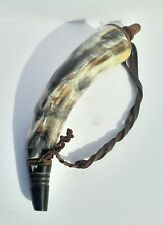 Vintage Powder Horn With Ginuene Leather Strap