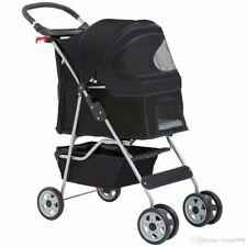 Brand New Black Pet Stroller Cage 3 Wheel Stroller Travel Folding Carrier