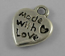 "16G (circa 30pcs) TIBETAN SILVER COLOUR AMORE CUORE ""made with love"" ciondolo"