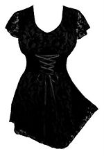 Sexy Gothic SWEETHEART Corset VNeck Black Lace/BLACK Top Size Jr S