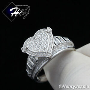 WOMEN 925 STERLING SILVER ICY DIAMOND HEART SHAPE ENGAGEMENT RING SIZE 6-9*SR88