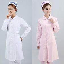Long Lab Coat Medical Womens Pharmacist Stylish Nurse Scrubs Doctor Gown Jacket