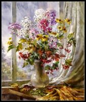 Bouquet in Vase - Chart Counted Cross Stitch Patterns Needlework DIY DMC Color