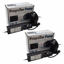 2 Pack Jebao SW15 Propeller Water Pump Wavemaker with Controller & Magnet Mount