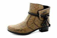 Rieker Womens UK 4 EU 37 Brown Zip Up Rope Detail Brand New Ankle Boots
