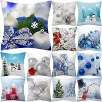 White Christmas Day Pillow Case Polyester Sofa Throw Cushion Cover Home Decor
