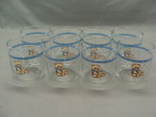 8 Vintage 10 oz. Glasses/Tumblers In The Country Bear Pattern